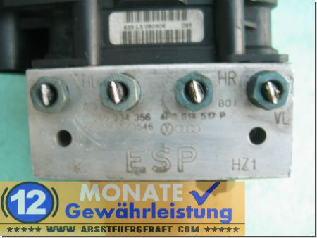 Centralina ABS A6 S6 Audi 4F0614517P 4F0-910-517-P Bosch 0265234356