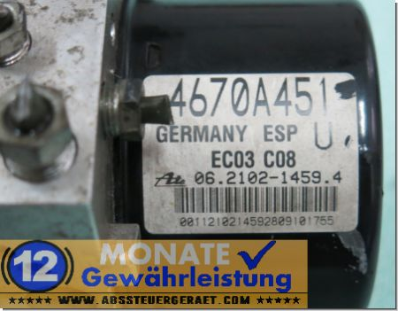 ABS Steuergerät 4670A451 06210214594 Ate 06210956573 Mitsubishi Outlander