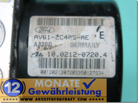 Bloc ABS calculateur AV612C405AE 10.0212-0720.4 Ate 10096101863 Ford C-Max