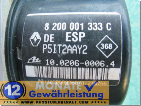 Modulo ABS 8200001333-C P5IT2AAY2 100206-00064 Ate 100960-14073 Renault Laguna